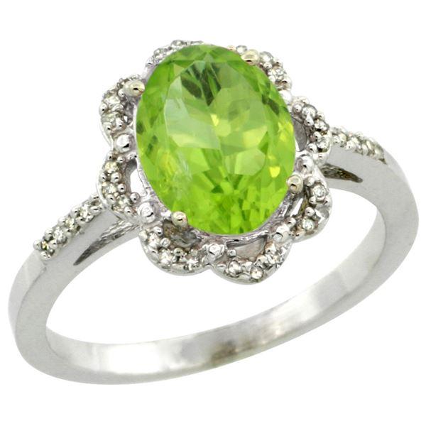 2.25 CTW Peridot & Diamond Ring 10K White Gold - REF-37H3M
