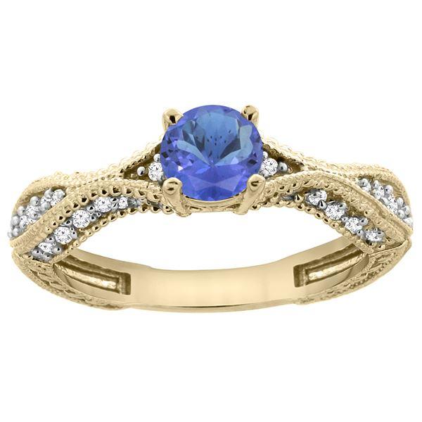 0.84 CTW Tanzanite & Diamond Ring 14K Yellow Gold - REF-70Y2V