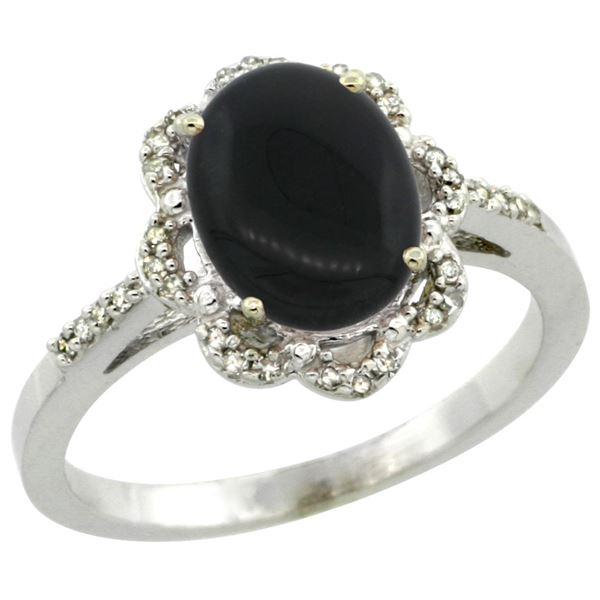 1.90 CTW Onyx & Diamond Ring 10K White Gold - REF-34A9X