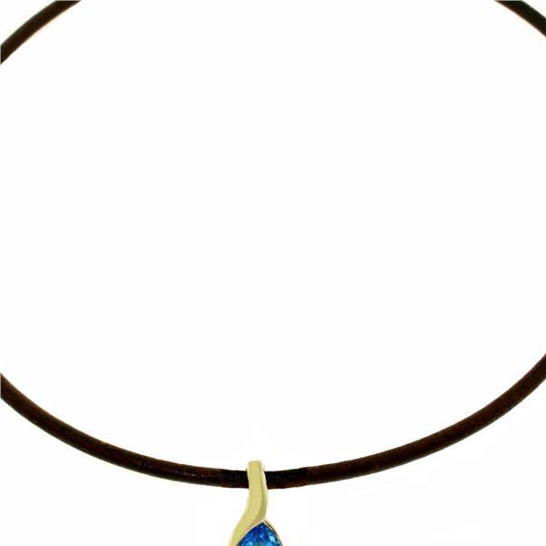 Genuine 4.7 ctw Blue Topaz Necklace 14KT White Gold - REF-32R3P