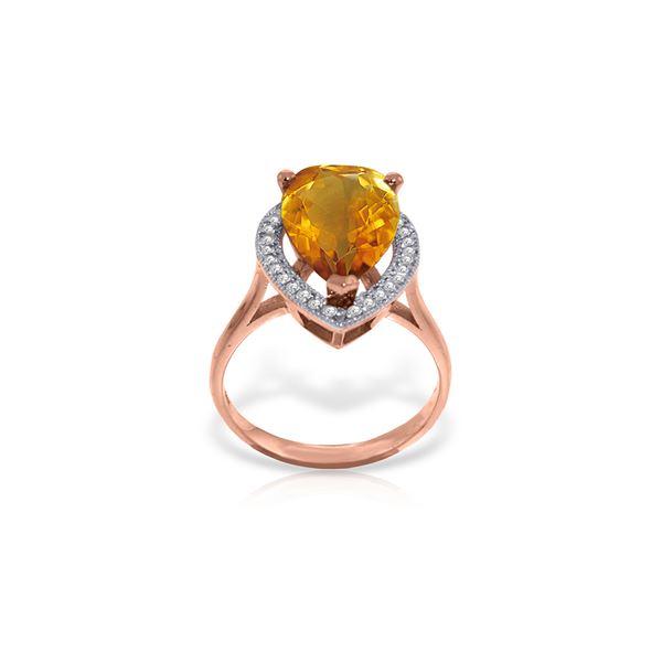 Genuine 3.41 ctw Citrine & Diamond Ring 14KT Rose Gold - REF-75X4M
