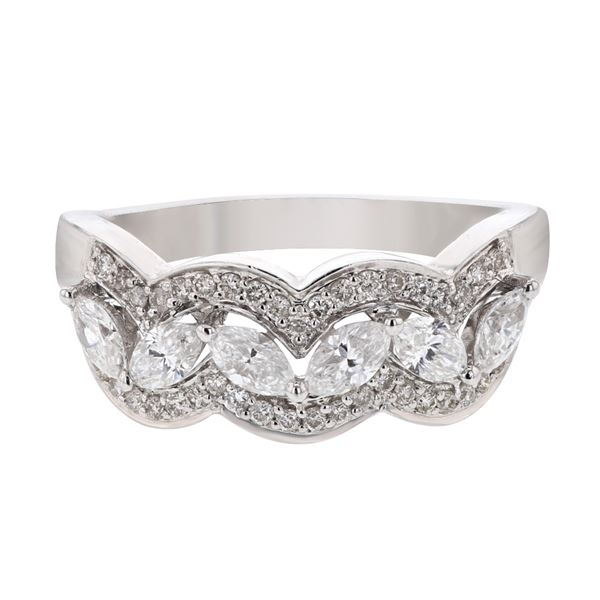 Natural 0.84 CTW Marquise & Diamond Ring W=7MM 14K Gold - REF-115M2F