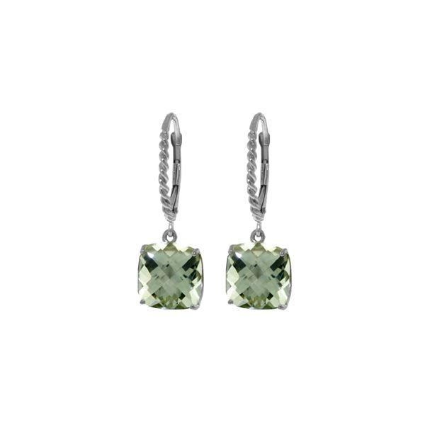 Genuine 7.2 ctw Green Amethyst Earrings 14KT White Gold - REF-42F7Z