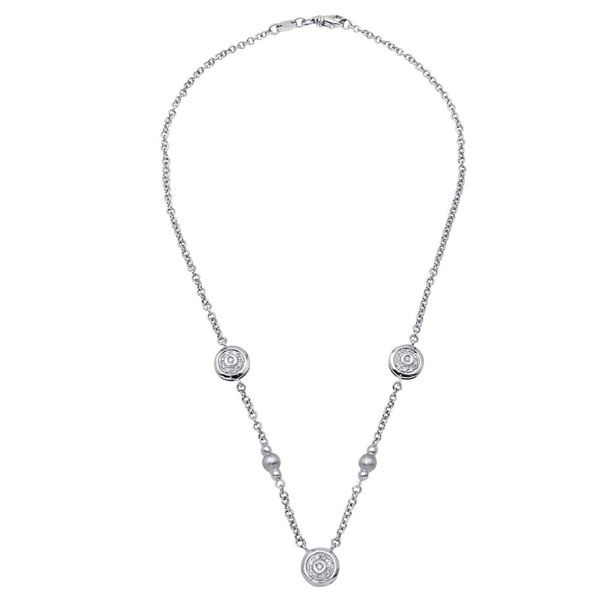 Natural 0.27 CTW Diamond Necklace 18K White Gold - REF-126Y2N