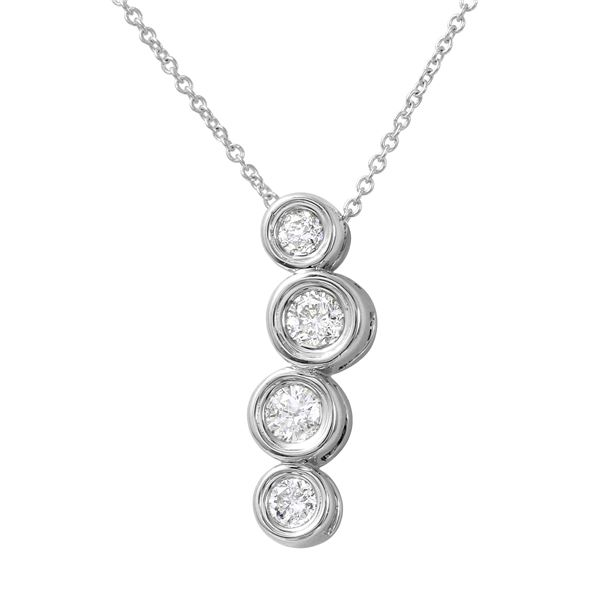 Natural 0.50 CTW Diamond Necklace 14K White Gold - REF-71X3T