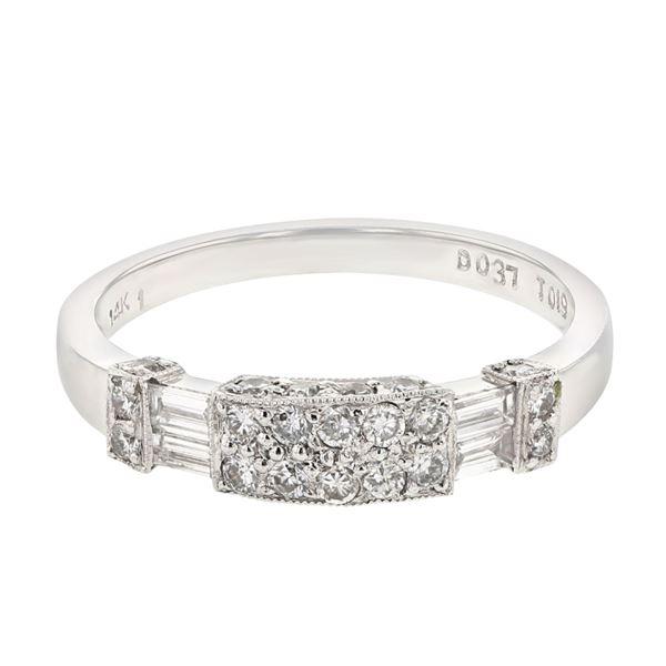 Natural 0.56 CTW Diamond & Baguette Band Ring 14K White Gold - REF-69X3T