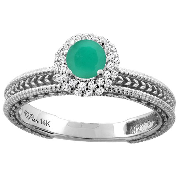 0.76 CTW Emerald & Diamond Ring 14K White Gold - REF-54H5M