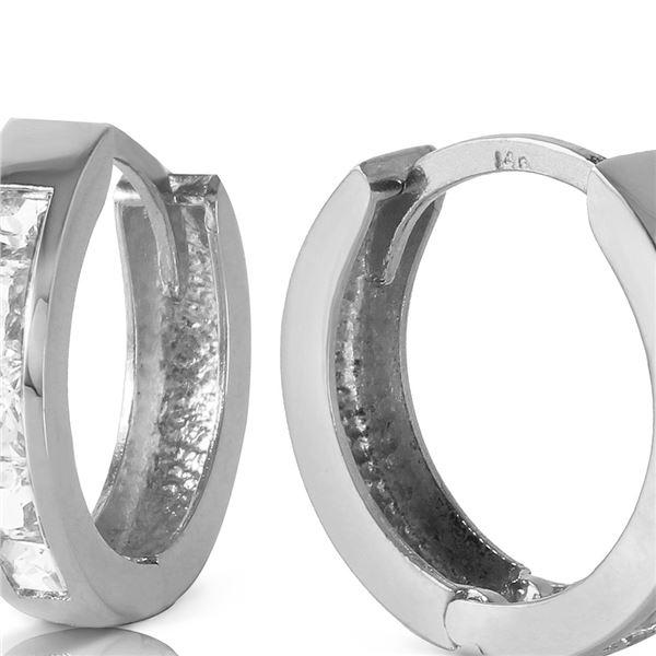 Genuine 1.20 ctw White Topaz Earrings 14KT White Gold - REF-37R6P