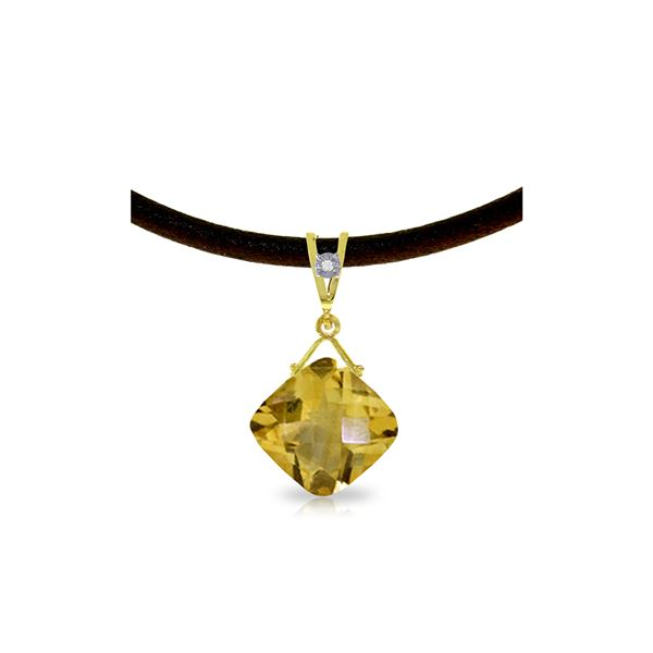 Genuine 8.76 ctw Citrine & Diamond Necklace 14KT Yellow Gold - REF-30T6A