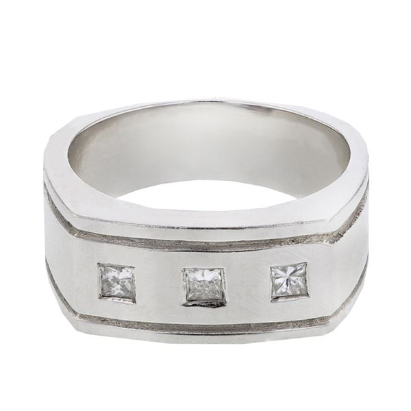 Natural 0.29 CTW Princess Diamond Ring W=9MM 14K Gold - REF-92H7W