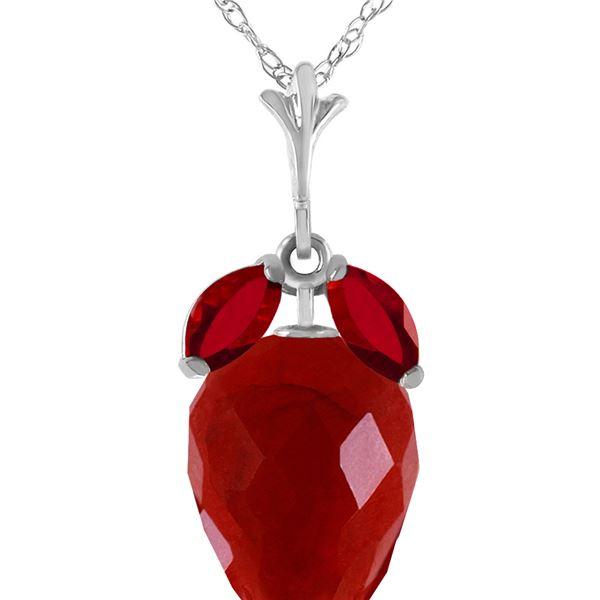 Genuine 13.5 ctw Ruby Necklace 14KT White Gold - REF-34X3M