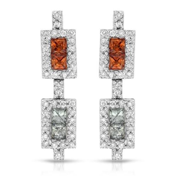 Natural 1.69 CTW Multi-Sapphire & Diamond Earrings 14K White Gold - REF-76H5W