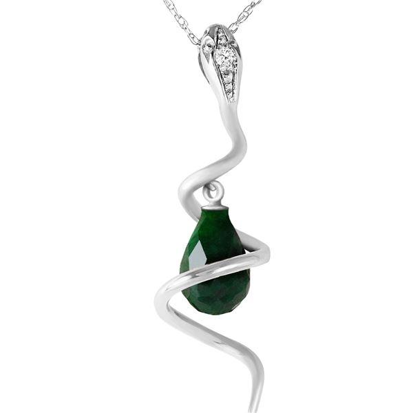 Genuine 3.33 ctw Sapphire & Diamond Necklace 14KT White Gold - REF-56P4H