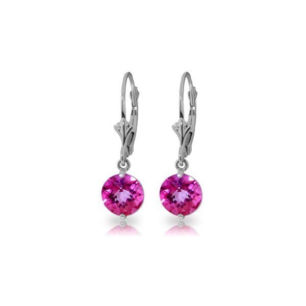 Genuine 3.1 ctw Pink Topaz Earrings 14KT White Gold - REF-34F3Z