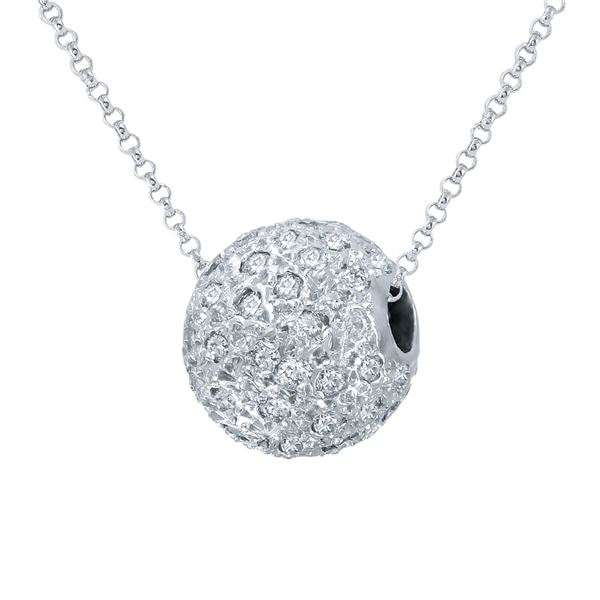 Natural 1 CTW Diamond & Pendant 14K White Gold - REF-100X8T