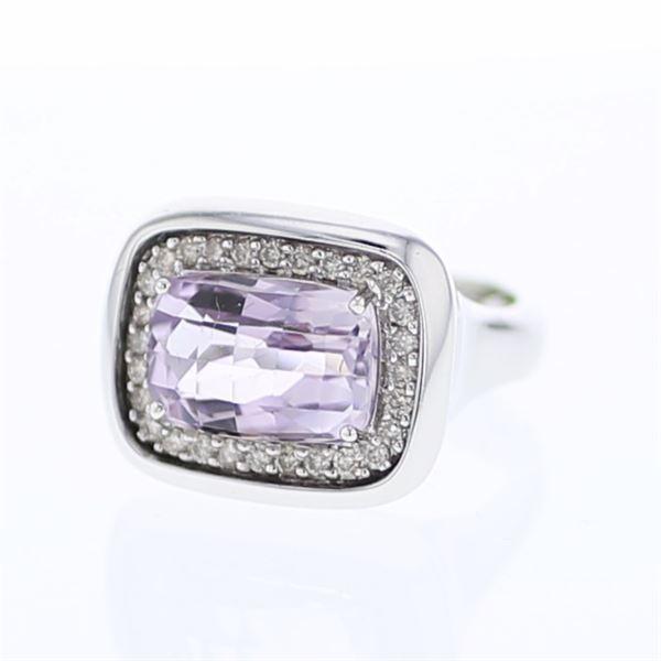 Natural 5.63 CTW Amethyst & Diamond Ring 18K White Gold - REF-126X9T