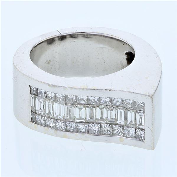 Natural 1.78 CTW Baguette & Princess Diamond Ring W=10MM 18K Gold - REF-324X9T
