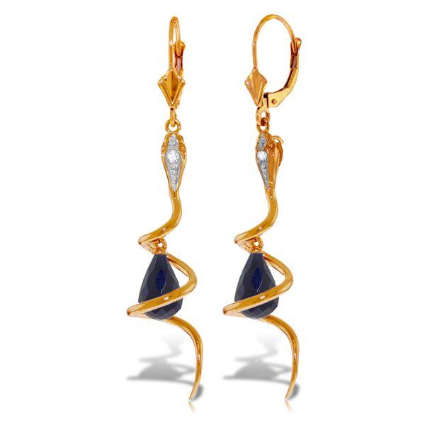 Genuine 6.66 ctw Sapphire & Diamond Earrings 14KT Rose Gold - REF-104F3Z