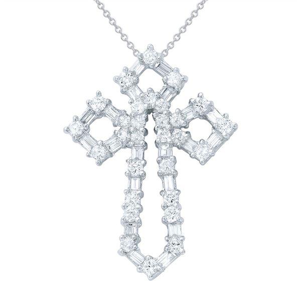 Natural 1.48 CTW Baguette & Diamond Necklace 18K White Gold - REF-189X9T