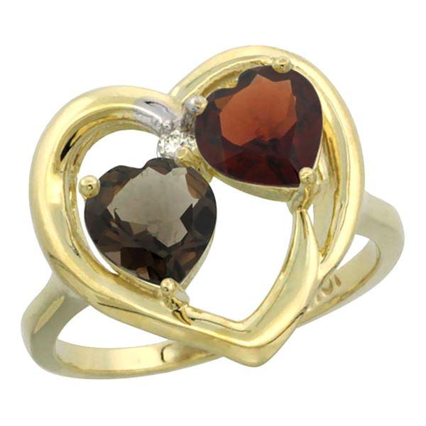 2.61 CTW Diamond, Quartz & Garnet Ring 14K Yellow Gold - REF-33W9F