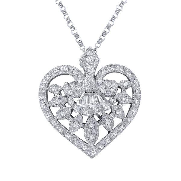 Natural 0.49 CTW Diamond & Baguette Necklace 18K White Gold - REF-81M2F