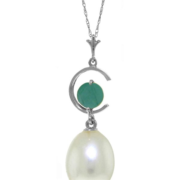 Genuine 4.5 ctw Pearl & Emerald Necklace 14KT White Gold - REF-22Z2N