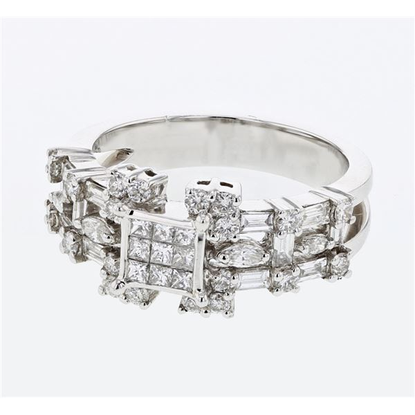 Natural 1.39 CTW Baguette & Diamond Ring 18K White Gold - REF-190Y8N