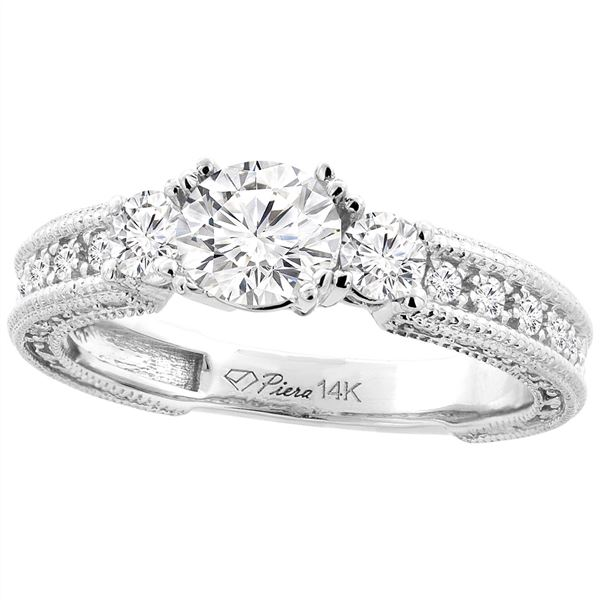 1.29 CTW Diamond Ring 14K White Gold - REF-271H6M