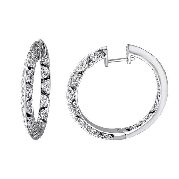 Natural 0.74 CTW Diamond Earrings 14K White Gold - REF-143X3T