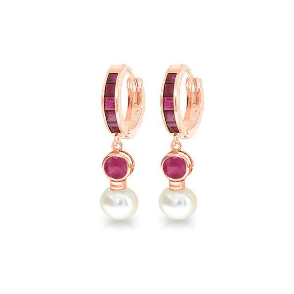 Genuine 4.65 ctw Ruby & Pearl Earrings 14KT Rose Gold - REF-54M6T