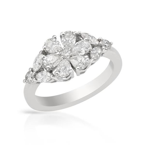 Natural 1.53 CTW Diamond & Marquise Ring 18K White Gold - REF-223H2W