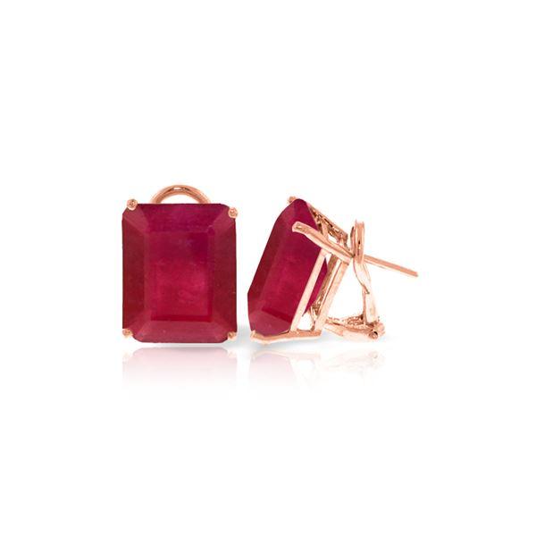 Genuine 15 ctw Ruby Earrings 14KT Rose Gold - REF-117A6K