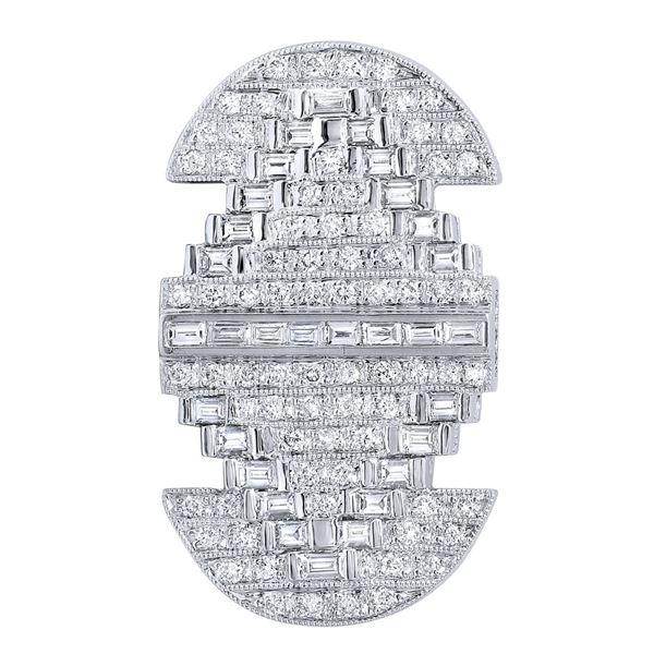 Natural 1.67 CTW Diamond & Baguette Brooch 18K White Gold - REF-286X2T