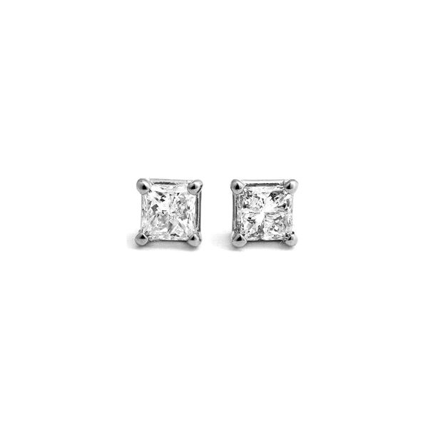Genuine 1.0 ctw Diamond Anniversary Earrings 14KT White Gold - REF-138W8Y