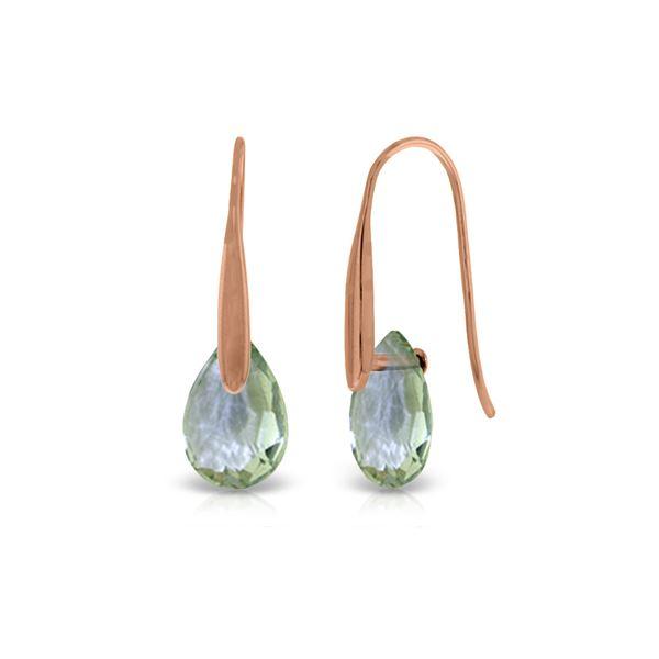 Genuine 6 ctw Green Amethyst Earrings 14KT Rose Gold - REF-38H5X