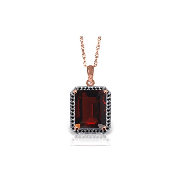Genuine 7.7 ctw Garnet & Black Diamond Necklace 14KT Rose Gold - REF-70P2H