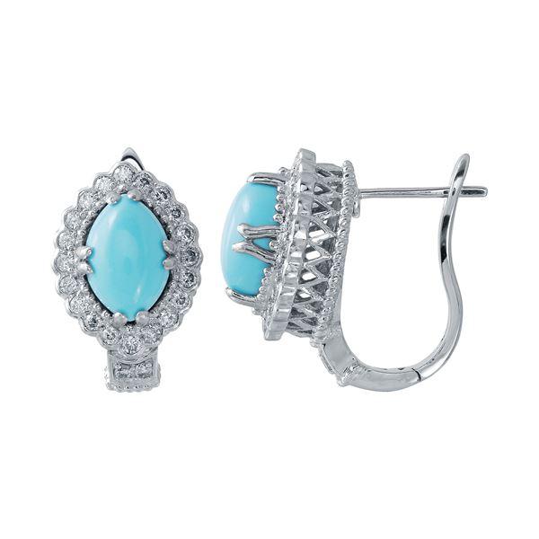 Natural 4.76 CTW Turquoise & Diamond Earrings 14K White Gold - REF-112H5W