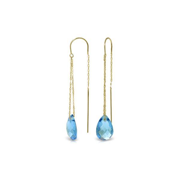 Genuine 6 ctw Blue Topaz Earrings 14KT Yellow Gold - REF-21A9K