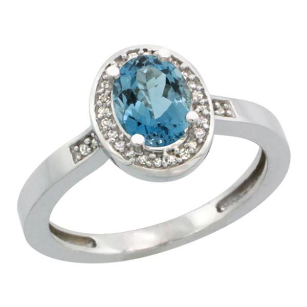 1.15 CTW London Blue Topaz & Diamond Ring 14K White Gold - REF-38K3W