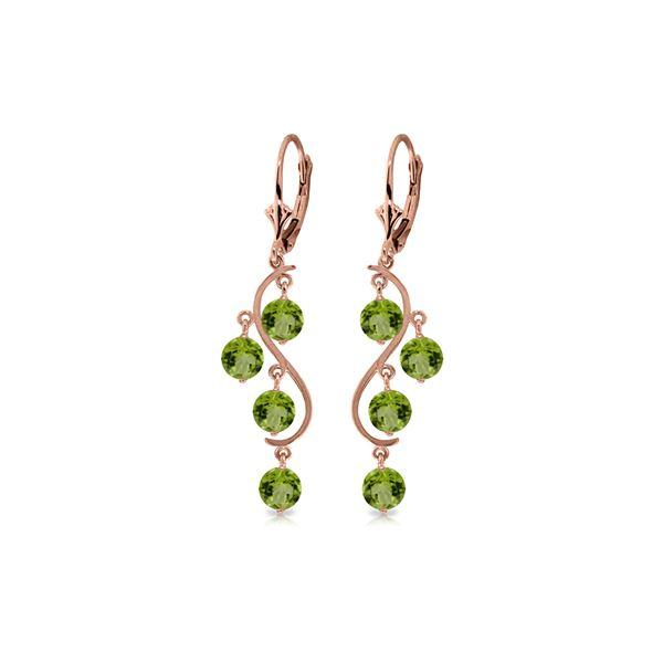 Genuine 4.95 ctw Peridot Earrings 14KT Rose Gold - REF-53N8R
