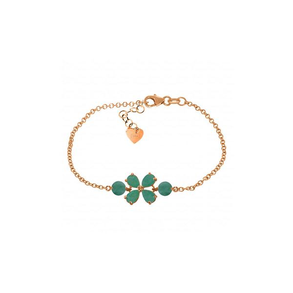 Genuine 3.15 ctw Emerald Bracelet 14KT Rose Gold - REF-71R9P