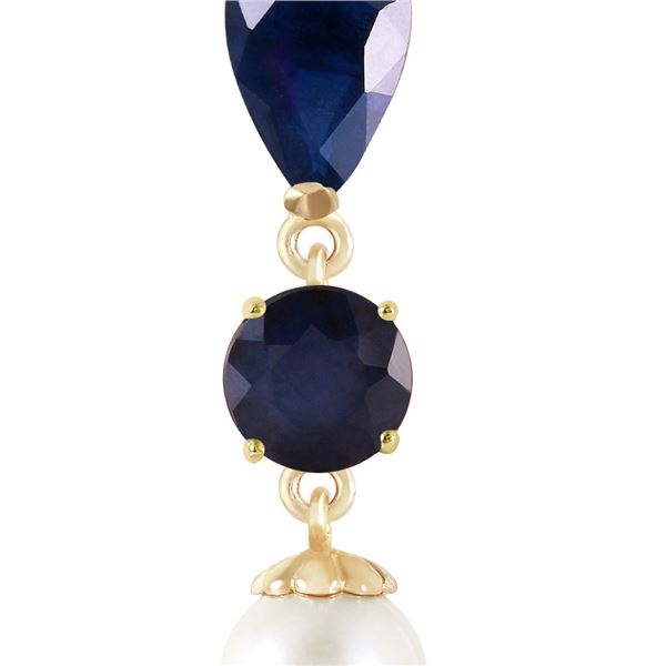 Genuine 5.05 ctw Sapphire & Pearl Necklace 14KT Yellow Gold - REF-35W2Y