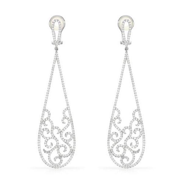 Natural 4.22 CTW Diamond Earrings 14K White Gold - REF-554M4F