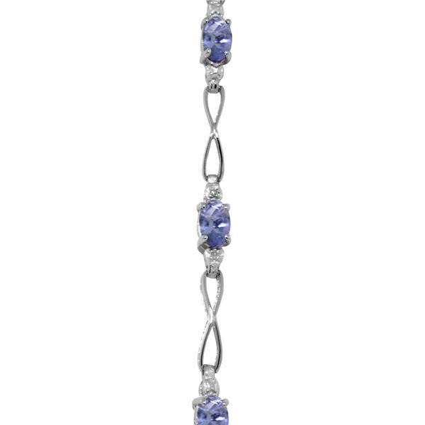 Genuine 1.16 ctw Tanzanite & Diamond Bracelet 14KT White Gold - REF-71A5K