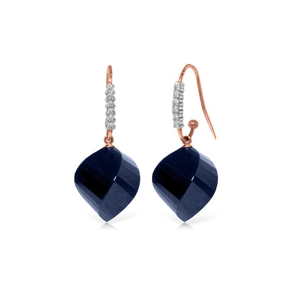 Genuine 30.68 ctw Sapphire & Diamond Earrings 14KT Rose Gold - REF-67P3H