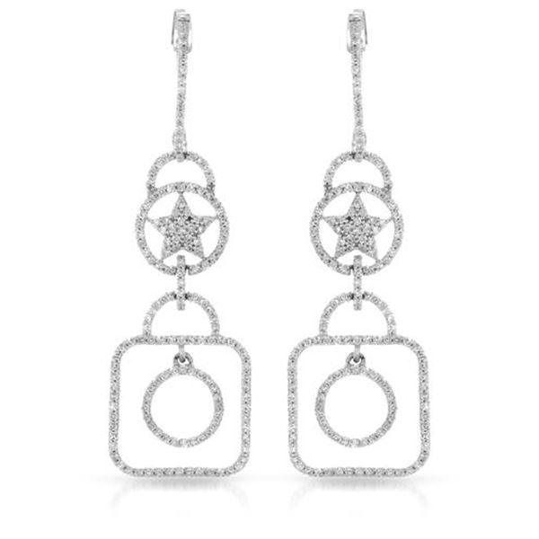 Natural 0.94 CTW Diamond Earrings 14K White Gold - REF-78M3F