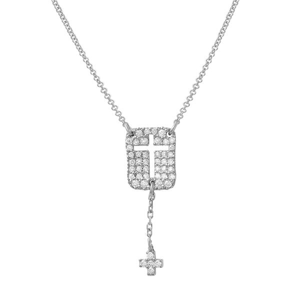 Natural 0.28 CTW Diamond Necklace 18K White Gold - REF-57H6W