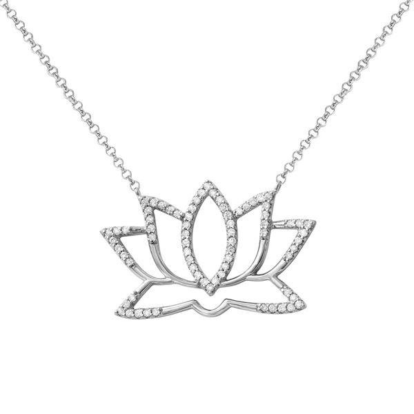 Natural 0.25 CTW Diamond Necklace 14K White Gold - REF-58M5F