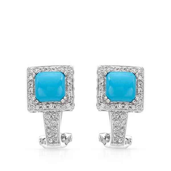 Natural 2.81 CTW Turquoise & Diamond Earrings 14K White Gold - REF-102X6T
