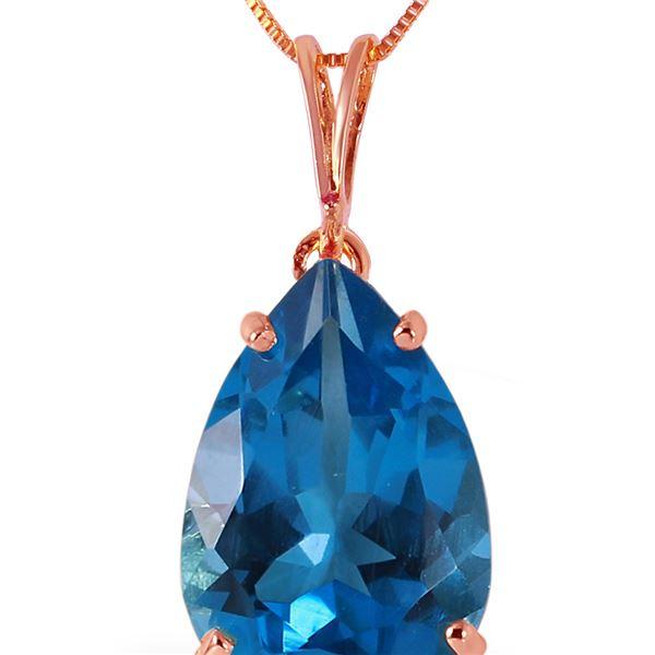 Genuine 6.5 ctw Blue Topaz Necklace 14KT Rose Gold - REF-31W6Y